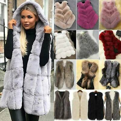 Women's Faux Fur Vest Waistcoat Jacket Coat Winter Warm Outwear Gilet Overcoat