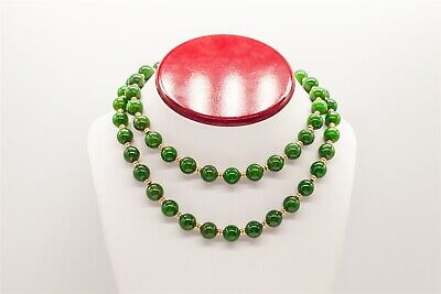 Vintage 1970s $3400 10mm Natural Green Jade 400ct 14k Yellow Gold Necklace