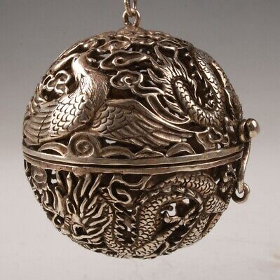Tibetan Silver Hand-Carved Dragon Phoenix Hollowed Incense Burner Pendant Old