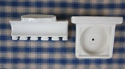 Antique Porcelain Cup & Toothbrush Toothpaste Holder BOTH VGC Restoration Items