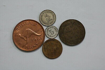 Canada Large Cent 1910 + Australia + Malaya & Usa Small Cent B21 Wk22