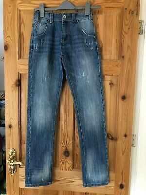 NEXT Boys Blue Faded/Distressed Denim Adjustable Waist Jeans Age 12