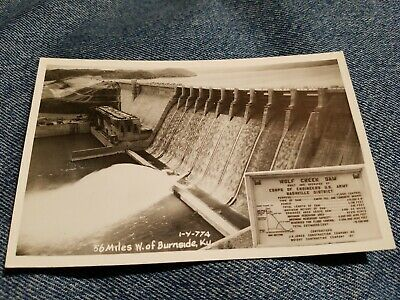 Vintage PHOTO POSTCARD WOLF CREEK DAM 56 miles west of Burnside Kentucky RPPC
