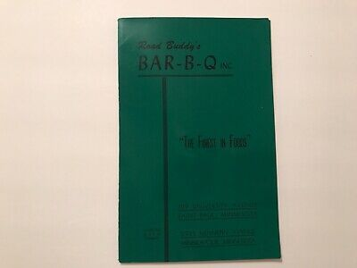 Vintage 1950's Menu Road Buddy's Bar-B-Q Restaurant Minneapolis Minnesota