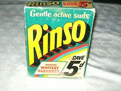 A Vintage 60's Imperial Measure 1 lb 14 oz Box of Unopened Rinso Laundry Powder