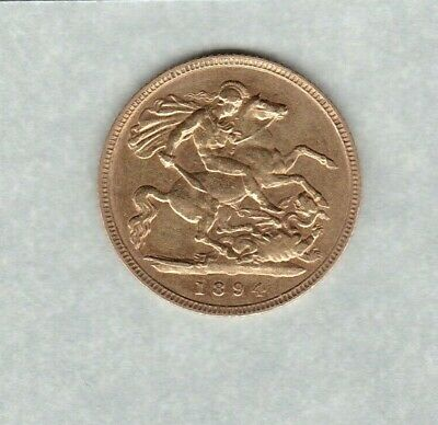 1894 Old Head Victoria Gold Half Sovereign In Good Fine Or Better Condition
