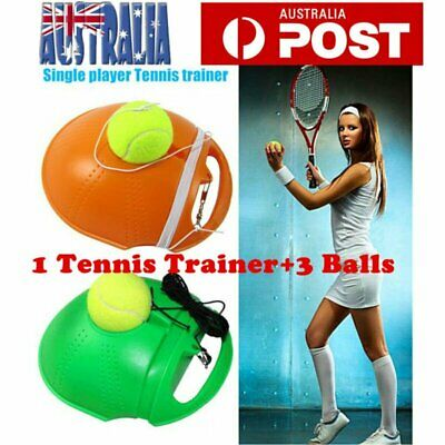 Single Tennis Trainer Training Practice Rebound Balls Back Base Tool + 3 Ball GD