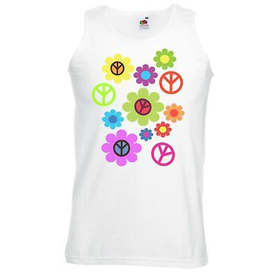 Unisex White Peace Love Flowers Vest CND Stop War Power