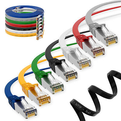 CAT 7 RJ45 Slim Patchkabel Netzwerkkabel Flachkabel Ethernet LAN Kabel 0,25m-15m