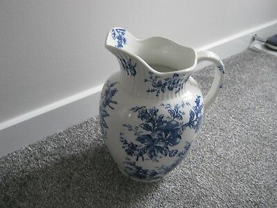 Large Antique Pitcher Jug In Blue And White Floral - Excellent Condition