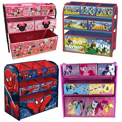 Cartoon Character Toy Storage Organiser Childrens Kids Bin Rack Box Cabinet Unit