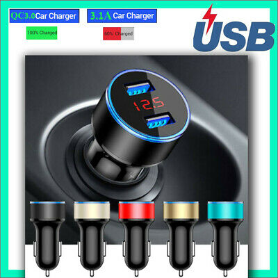 FOR Iphone Samsung Car Charger Dual Fast Usb Car Charger Splitter Led Display