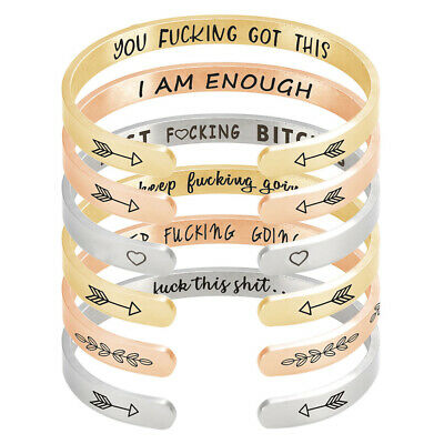 Keep Fucking Going Bracelet Cuff Open Bangle Inspirational Ins Gift for Daughter