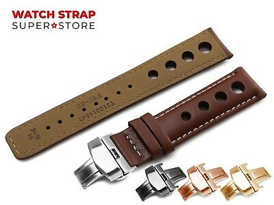 Brown White For TISSOT PRS516 Leather Watch Strap Band Clasp Rally Racing Holes