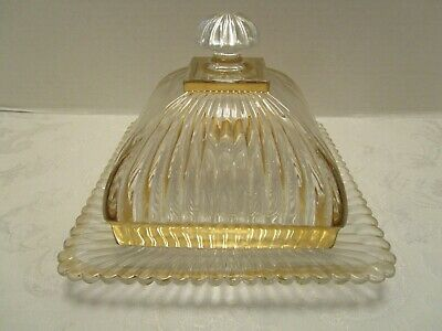 "EAPG RIBBED GLASS DOMED SQUARE BUTTER DISH & LID Gold trim Antique 7 7/8"" square"