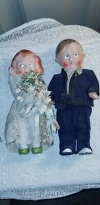 """ANTIQUE BISQUE BRIDE AND GROOM DOLLS bride marked GERMANY 7 3/4"""" & 6 3/4"""""""