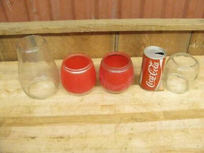 """4 Antique Vintage Dietz Lantern Globe Red Over Clear Glass 4"""" & 6-3/4"""" Tall"""