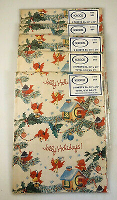 Vintage NORCROSS Christmas Gift Wrap WRAPPING PAPER Lot 5 Unopened packs