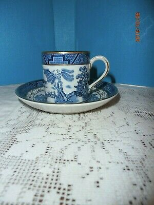 Antique Booths Real Old Willow Demitasse Cup & Saucer Can Shape Blue Gold A8025