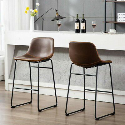 2x Upholstered Industrial Bar Stools Vintage Kitchen Chair Bucket Seat with Back