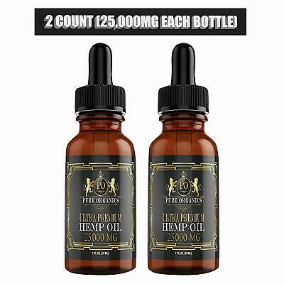 Hemp Oil (2 Pack)  25,000mg  for Pain Relief Anxiety Relief Sleep Anti Stress