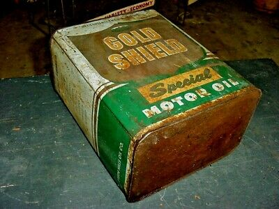 1940s Vintage GOLD SHIELD MOTOR OIL Old 2 gal. Tin Oil Can