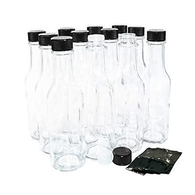 12 Pack 5 Oz Clear Glass Hot Sauce Bottle With Black Cap Shrink Band And Orifice