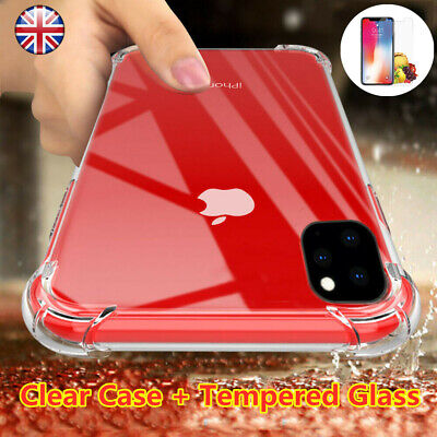 Silicone Clear Case Cover & Tempered Glass For iPhone 11 Pro Max XR 7 8 6s Plus