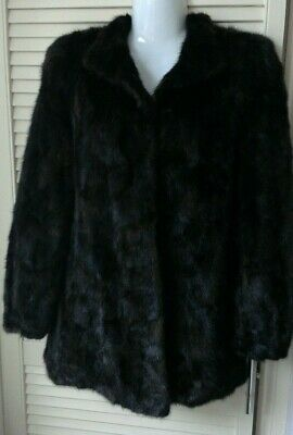 Vintage Glossy brown Real Mink fur jacket coat size 8-10