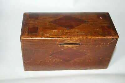 Antique Solid Wood Money Box Vintage Coin Box Inlaid Wooden Primitive Collection