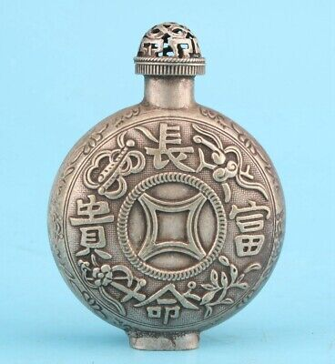 Unique China Tibetan Silver Hand-Carved Auspicious Snuff Bottle Old Collection