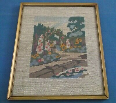 Vintage Hand Embroidered English Garden Professionally Framed Picture Panel