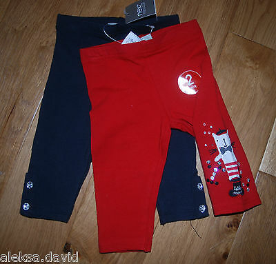 BNWT NEXT 3-4 years GIRLS BLACK*RED LEGGINGS WITH CAT SET *RED/BLACK
