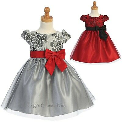 Girls Dress Floral Jacquard Tulle Wedding Christmas Holidays Baby Kids Party New