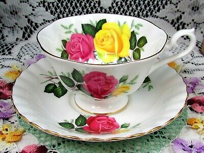 Royal Albert Pink And Yellow Roses Fluted Avon Shape Tea Cup And Saucer