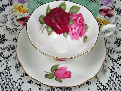 Royal Albert Pink And Red Roses Fluted Avon Shape Tea Cup And Saucer