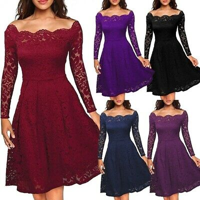 Women Lace Dress Formal Wedding Cocktail Evening Prom Ball Gown Party Bridesmaid