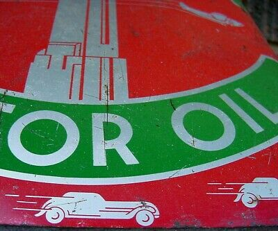 OLD CAR & PLANE GRAPHICS *  1940s Vintage EMPIRE MOTOR OIL Old 2 gal Tin Oil Can