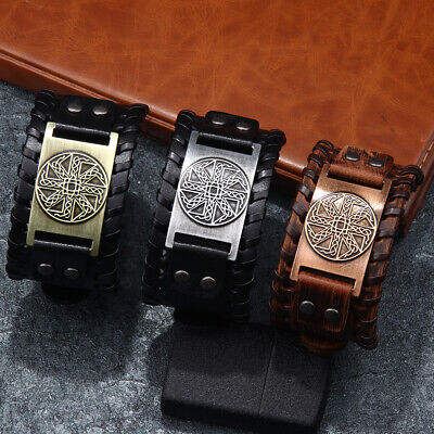 Fashion Wide Cuff PU Leather Bracelets Wristband Bangles Gifts for Men or Women