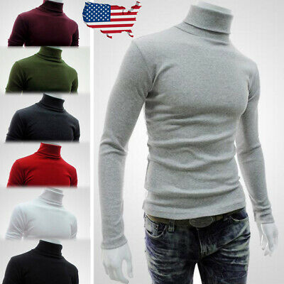 Mens Thermal High Collar Turtle Neck Skivvy Long Sleeve Sweater Stretch Shirts