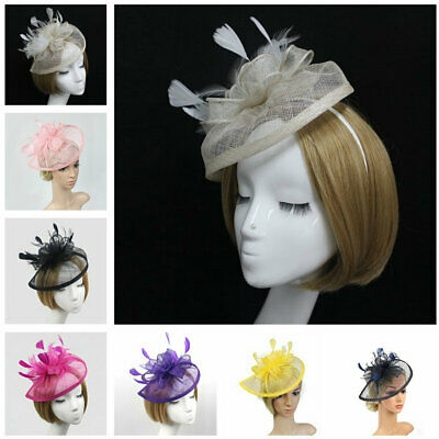 Women Fascinator Hair Clip Vintage Feather Wedding Party Hairwear Mult Color