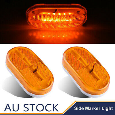 2X 12/24V 6 LED Amber Side Marker Clearance Trailer Lights Lamp Indicator Truck
