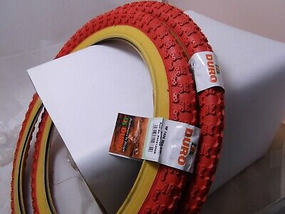 Raleigh Burner Old School BMX Tyres / Comp 3 Tread / Red 20 x 2.125 (Pair of)