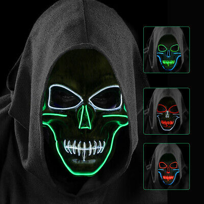 Halloween Scary Skull Mask LED Cosplay Costume Mask El Wire Light Up Mask