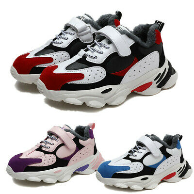 Kids Boys Girls Trainers Winter Warm Snow Boots Fur Lined  Outdoor Walking Shoes