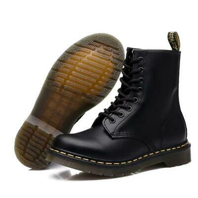 Womens Doc Ankle Boots Combat Army Military Biker Flat Lace Up Work Shoes Uk