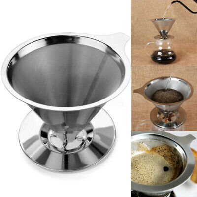 Stainless Steel Reusable Coffee Filters Dripper Pour Over Tea Espresso Makers