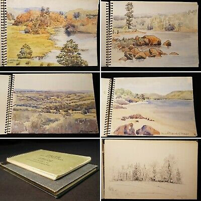 20th Century SKETCHBOOKS x2 Hand Drawn PAINTED Landscapes ENGLISH Original
