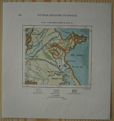 1882 Perron map RECENT DISPLACEMENT OF YELLOW RIVER, CHINA (#63)