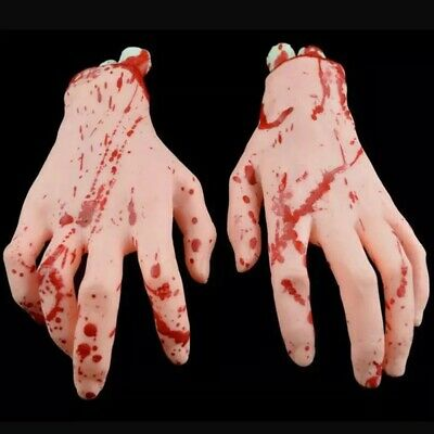 1 Pairs Halloween Horror Props Scary Bloody Hand Haunted Terror Party Decoration